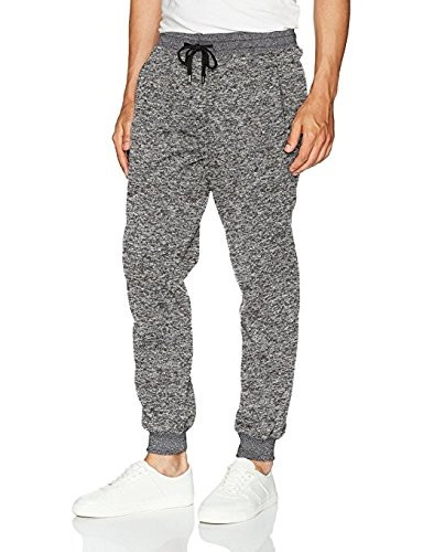 Southpole Men's Jogger Pants Basic Fleece Solid Clean in Marled Colors, Grey, Small