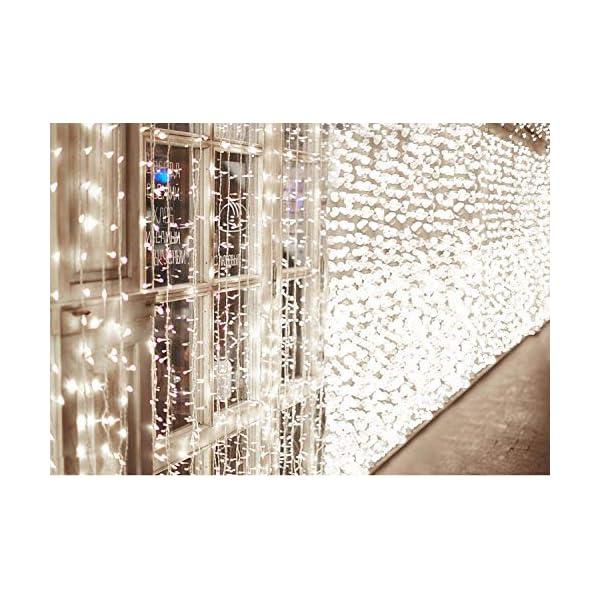 600 LED Catena IDESION 6M x 3M Tenda di Luci con 8 Modalità di Illuminazione, Barriera Fotoelettrica a LED per Camera or Esterno Luci Decorative Luci Natalizie per Atmosfera Romatica(Bianco Freddo) 1 spesavip