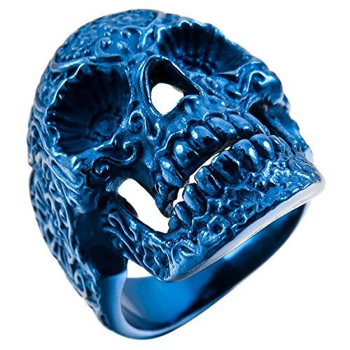 INBLUE Men's Stainless Steel Ring Blue Skull Flower