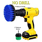 HIFROM 2 Piece Medium Stiffness Power Scrubbing Brush Drill Attachment Kit for Cleaning Showers, Tubs, Bathrooms, Tile, Grout, Carpet, Tires, Boats