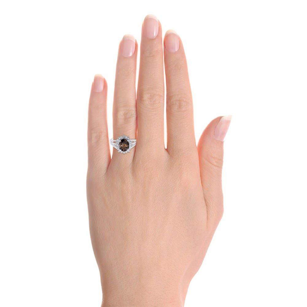 Princess Diana Inspired Halo Diamond & Smoky Quartz Ring Set In 14K White Gold by Rylos (Image #2)
