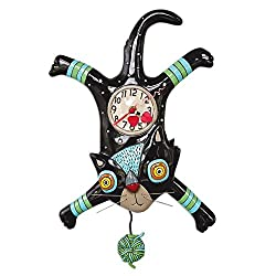 Allen Designs Craft Attack Whimsical Cat Pendulum Wall Clock