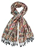 Tiaja Scarf, Pashmina Indian Paisley Traditional Jacquard Scarf - hand made in India (Black)