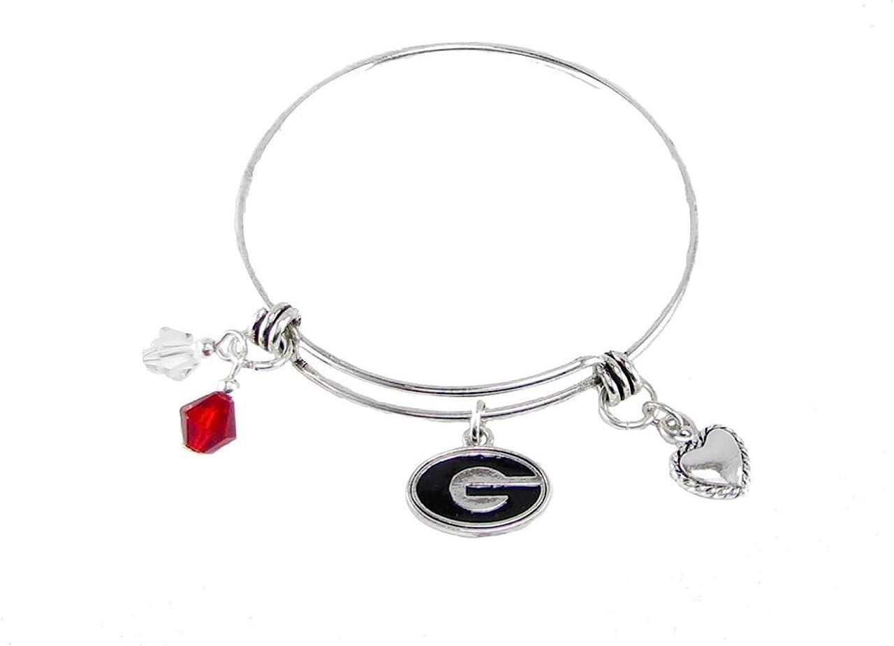 Oklahoma Sooners Red Austrian Crystal Silver Wire Bangle Bracelet Jewelry OU