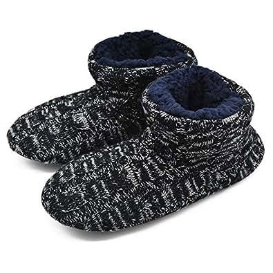 GPOS Knit Rock Wool Warm Men Indoor Pull on Cozy Memory Foam Slipper Boots Soft Rubber Sole Black Size: 6