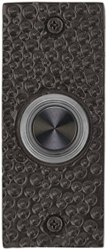 Waterwood Solid Brass Small Hammered Plate Doorbell in Black ()