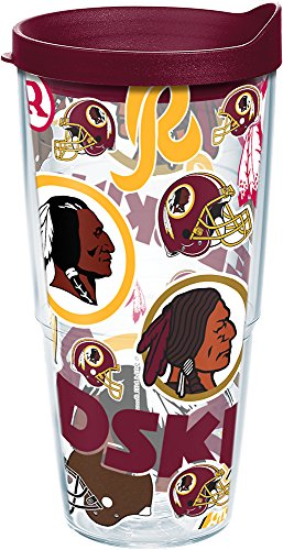 Tervis 1248176 NFL Washington Redskins All Over Tumbler with Wrap and Maroon Lid 24oz, Clear