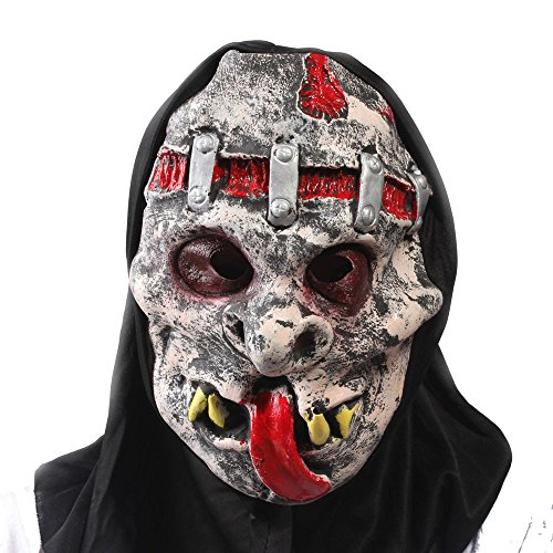 WeiYun Scary Black Orangutan Monster Half Mask Lifelike,Walking Horror Ghost Devil Evil Hair Mask ,Ugly Toothy Mask Cosplay Costume Fancy Party Favors for Halloween,Movie Props Green Latex Blame Mask for $<!--$5.99-->