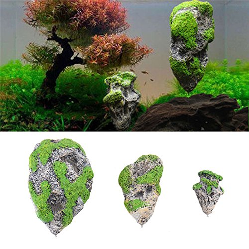 OWIKAR Aquarium Decor Fish Tank Floating Rocks Suspended Stone Covered With Moss Artificial Decoration Ornament Supplies 3.5