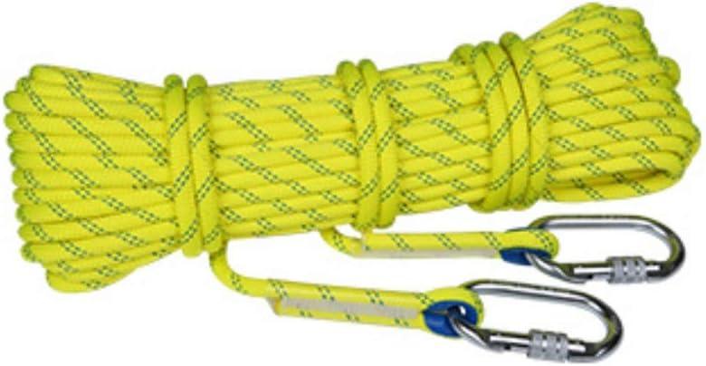 クライミングハーネス 高強度ポリエステルトップクライミング耐摩耗性の高高度スタティックロープ、8ミリメートル屋外クライミングロープ、静張力1600キロスピードドロップロープ安全ロープ (Color : 黄, Size : 30m) 黄 30m