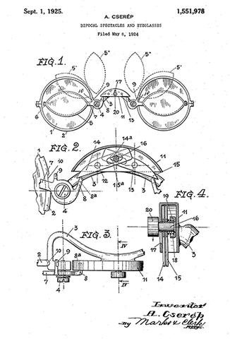 1925 - Bifocal Spectacles and Eyeglasses - Eye Clinic - Optometrist - A. Cserep - Patent Art Poster (Bifocals Of Invention The)