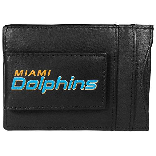 (Siskiyou NFL Miami Dolphins Logo Leather Cash and Cardholder, Black )