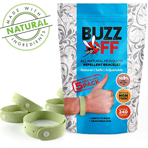 Buzz-Off 100pct Natural Mosquito Repellent Bracelets Five 5