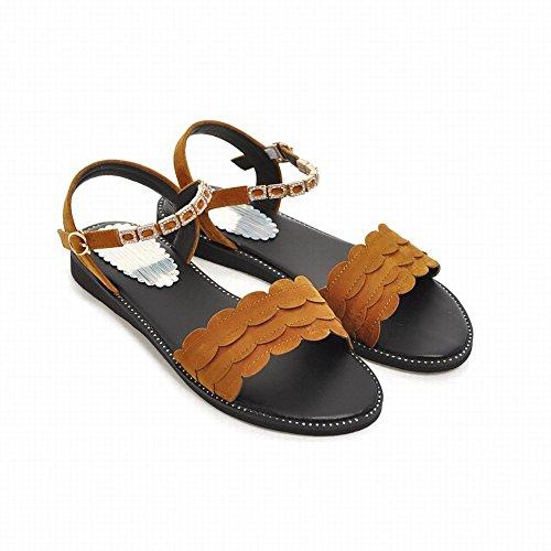 Ankle Women's Style Buckle Flat Rhinestones New Dark Sandals Yellow Carolbar Strap CUqw7X7