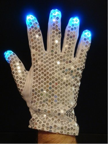(Flashing Panda LED Raver Gloves, 6 modes, Multicolor RGB Lights, Sequin Right Hand (Michael)