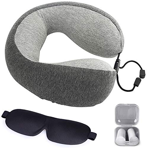Memory Foam Travel Pillow - Airplane Neck Pillow with Washable Cover, Ear Plugs and Eye Mask for Superior Comfort Breathable Pillow Gray by The Comfort Brand
