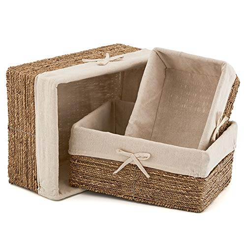 EZOWare Set of 3 Natural Woven Seagrass Nesting Wicker Shelf Storage Baskets Container Bins with Removable Liners ()