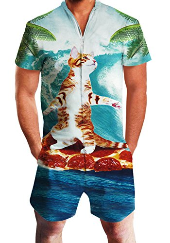 Men's Rompers Male Zipper Jumpsuit Shorts Surfing Pizza Cat Printed One Piece Slim Fit Outfits Bro Short Sleeve Overalls