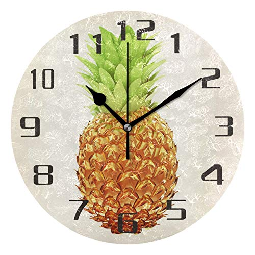 (KUWT Tropical Pineapple Wall Clock Silent Non-Ticking 9.5 Inch Round Clock Acrylic Art Painting Home Office School Decor)