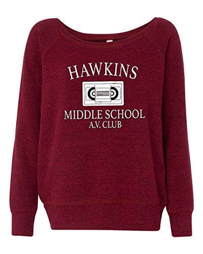 LivingTees Hawkins Middle School AV Club Stranger Things Women's Wideneck Sweatshirt