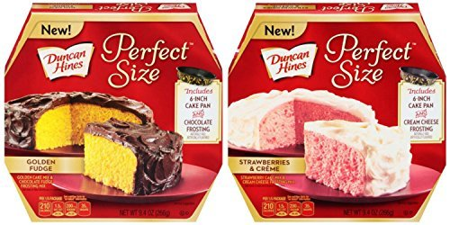 Duncan Hines Perfect Size Cake 2-Pack Bundle- Featuring Golden Fudge & Strawberry & Creme Mixes (Layer Cake Strawberry)