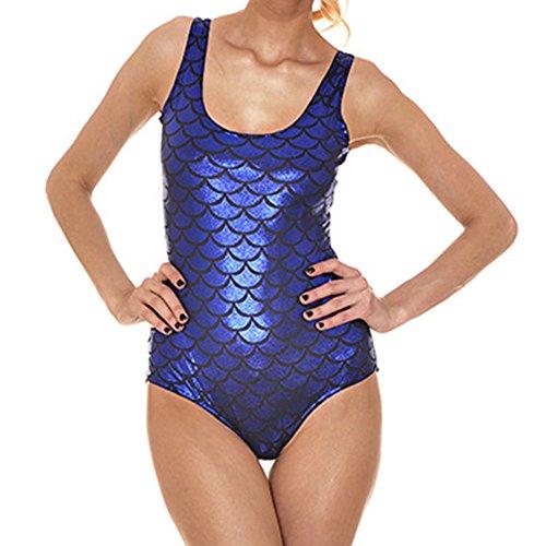 hibote Traje de Bano Sirena Sirena Escalera Pescado Brillante de una pieza Bikini Azul