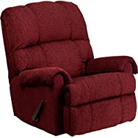 Contemporary Tahoe Bark Chenille Living Room Rocker Recliner Chair in Burgundy