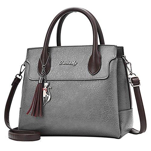 BAOFASHION Womens Tassels Cat Pendant Shoulder Bags Retro Purses Handbags