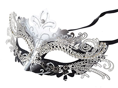 [Coxeer Laser Cut Metal Lady Masquerade Halloween Mardi Gras Party Mask (Silver & Black)] (Masquerade Masks Metal)