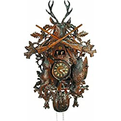 August Schwer Cuckoo Clock 8-Day-Movement Carved-Style 90cm