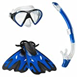 Speedo Hyperfluid Mask Snorkel Fin Set with Carrying Case, Blue, Small/Medium