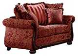 Homelegance Grand Isle Traditional Style Floral Loveseat, Red