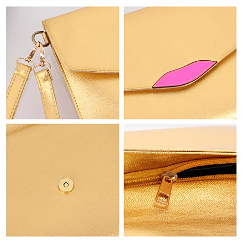 Bag Clutch Gold Lady Bag Purse Strap Crossbody Envelope Satchel with Leather Naimo Shoulder wgqA4EB