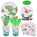 Kicpot 80Pcs Dinosaur Disposable Tableware Set, Cutlery Set Serves 10 for Kids with Cups, Plates, Napkins - Baby Showers Birthday Party Favors Dinosaur Decorations Supplies