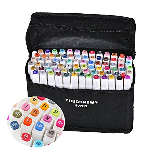 ed635dfed113 80 Colors Dual Tips Art Sketch Twin Marker Pens Highlighters with Carrying  Case for Painting Coloring Highlighting and Underlining
