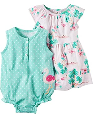 Baby Girls' 2-Piece Dotted Romper And Dress Set 6 Months
