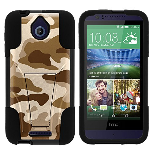 HTC Desire 510 Case, Dual Layer Shell STRIKE Impact Kickstand Case with Unique Graphic Images for HTC Desire 510 by MINITURTLE - Brown Camouflage