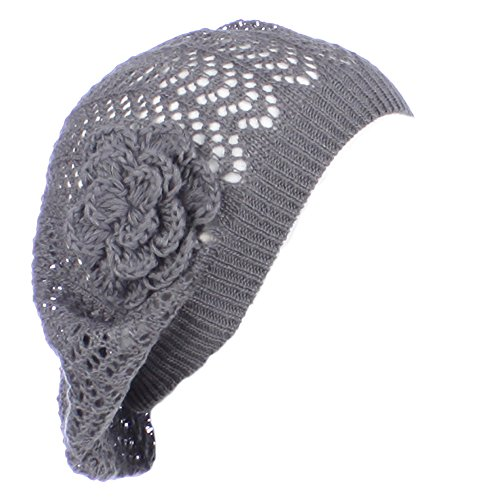 Beret Knit Pattern (AN- Womens Fashion Lightweight Cutout Crochet Knit Beret Beanie Hat w/ Flower , Various Patterns (Dark Gray Net))