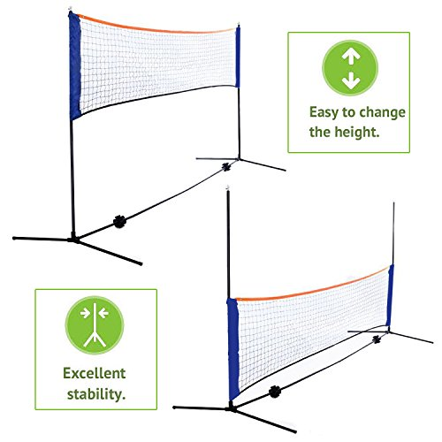 Smartxchoices 10ft Portable Badminton Net and Frame Set Professional Volleyball Training Practice Net with Poles Height Adjustable Net with Carrying Bag by Smartxchoices (Image #2)