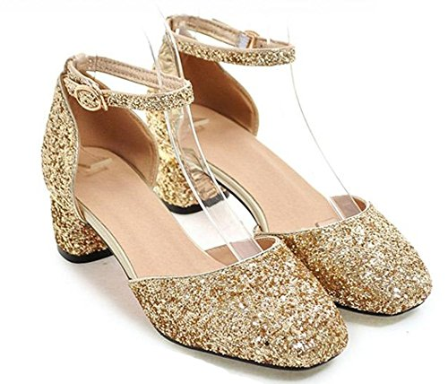 Easemax Womens Elegant Sequined Mid Chunky Heel Low Top Ankle Buckle Strap Square Toe Sandals Gold BoZApAlp