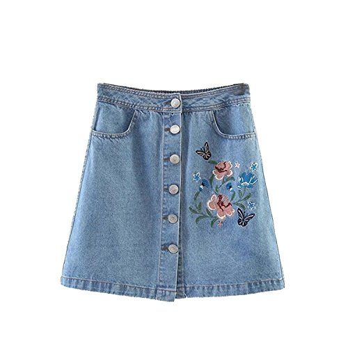 (Women Skirt Denim A-Line Embroidered Mini Jeans Skirt (Small))