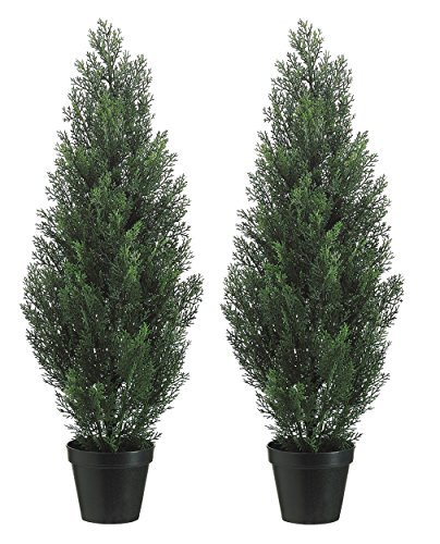 Set Of 2 Pre-potted 3 Foot Artificial Cedar Topiary Outdoor Indoor Trees (Artificial Outdoor Tree)
