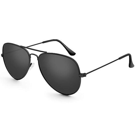 e77a802d6d6 Livhò G Sunglasses for Men Women Aviator Polarized Metal Mirror UV 400 Lens  Protection (Black
