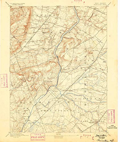 (YellowMaps Princeton NJ topo map, 1:62500 Scale, 15 X 15 Minute, Historical, 1894, Updated 1899, 19.7 x 16.6 in - Paper)