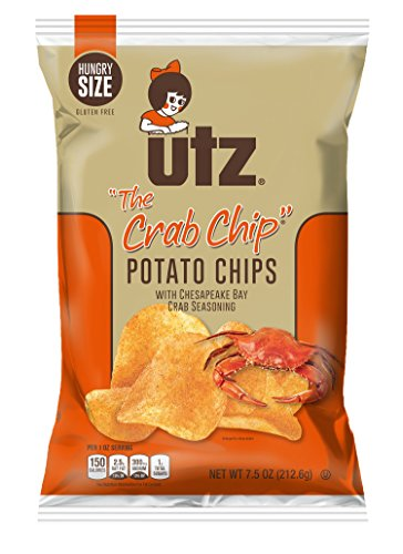 Utz Quality Foods Flavored Potato Chips 7.5 Ounce Hungry Size Bag (The Crab Chip, 3 - Crab Chip