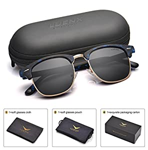 Men Clubmaster Polarized Sunglasses:UV 400 Protection 51MM ,by LUENX with Case