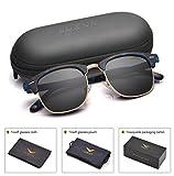 Men Clubmaster Polarized Sunglasses Women UV 400 Protection Black Lens Tortoise Blue Retro Frame 51MM,by LUENX with Case