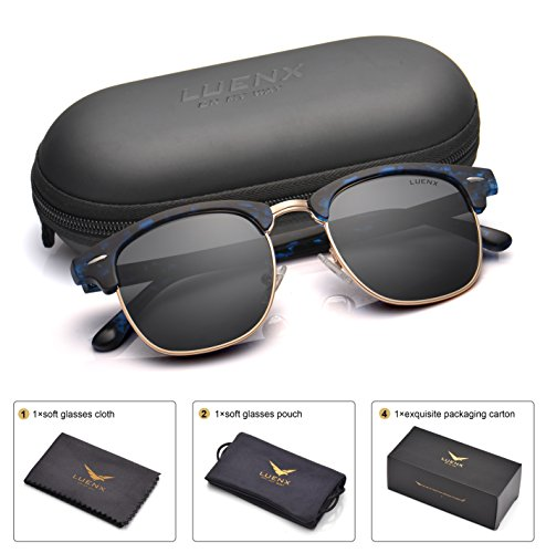 639d9141f5 LUENX Men Clubmaster Polarized Sunglasses Women UV 400 Protection ...