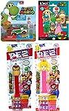 Hot Figure Wheels Game Characters Super Mario Yoshi car + Mini Buildable Figure Pack & Donkey Kong + Princess Peach P E Z Figure Head Toy Bundle
