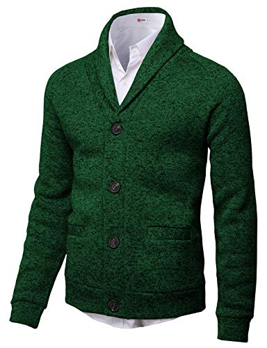 H2H Mens Knitted Fashion Long Sleeve Shawl Collar Button Front Cardigan Green US L/Asia XL (CMOCAL031) ()